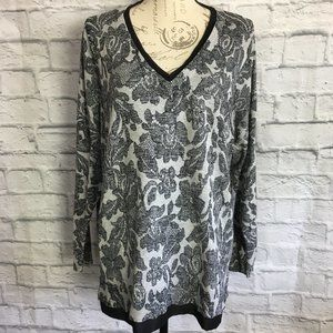 Lane Bryant Floral Sweater with Chiffon Trim